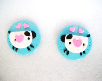 Button Twin Lambs handmade polymer clay buttons ( 2 )