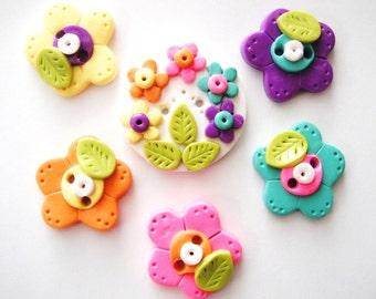 Button Rainbow Bunch Flowers handmade polymer clay buttons ( 6 )