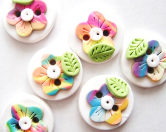 Button Rainbow Wild Flowers handmade polymer clay buttons ( 6 )