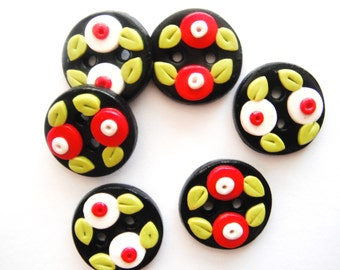 Button Black with Little Buds handmade polymer clay buttons ( 6 )