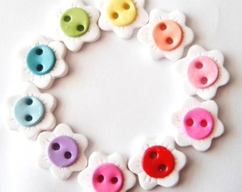 Button Reverse Rainbow of Flowers handmade polymer clay buttons ( 10 )