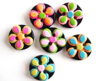Button Retro Crazy Daisy handmade polymer clay buttons ( 6 )