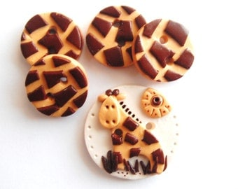 Button Giraffe handmade polymer clay button set ( 5 )