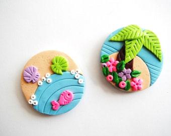 Magnet Tiny Island handmade polymer clay magnets ( 2 )