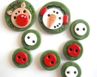 Button NEW Christmas snowman and Rudolph handmade polymer clay button set ( 8 )