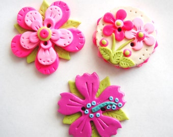 Biggy Button Flowers handmade polymer clay large single buttons ( 1 )