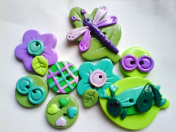 Button Grasshopper and Dragonfly handmade polymer clay buttons  ( 8 )