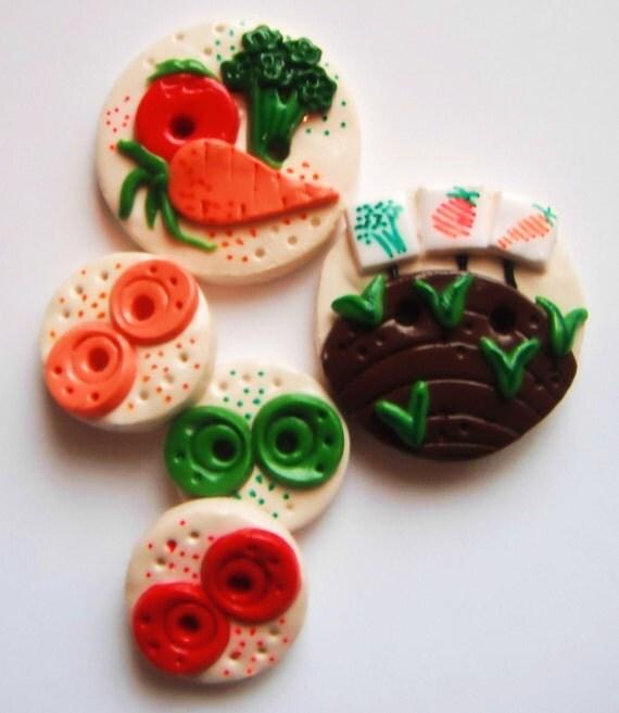 Button Veggie Garden handmade polymer clay button set  ( 5 )