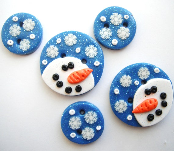 Snowy Night Snowman polymer clay buttons ( 5 )