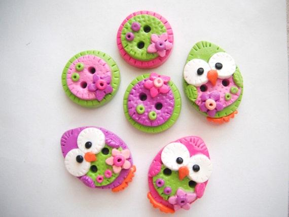 Button Patchwork Baby Birds handmade polymer clay buttons ( 6 )