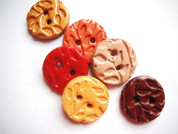 Button Textured Leaves handmade polymer clay buttons ( 6 )