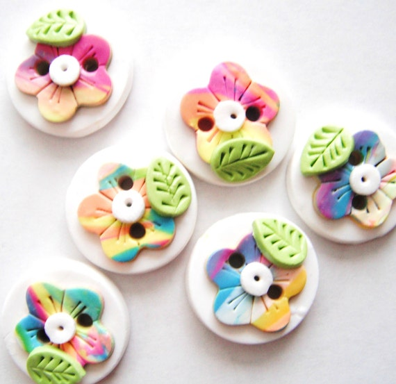Button Rainbow Wild Flowers handmade polymer clay buttons ( 6 )