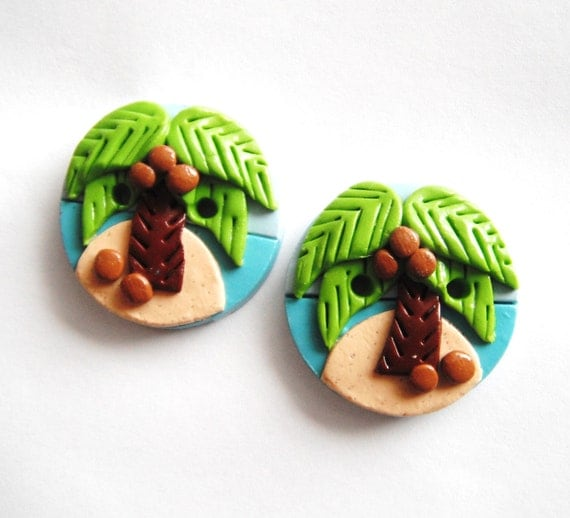 Button Twin Coconut Palms handmade polymer clay buttons  ( 2 )