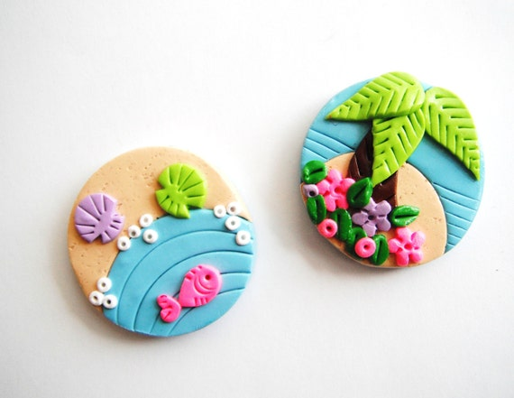 Magnet Tiny Island handmade polymer clay magnets ( 2 )