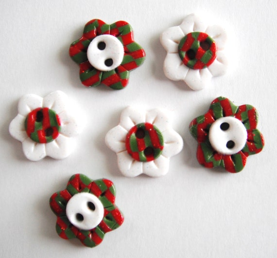 Button Christmas Check Flowers handmade polymer clay buttons ( 6 )