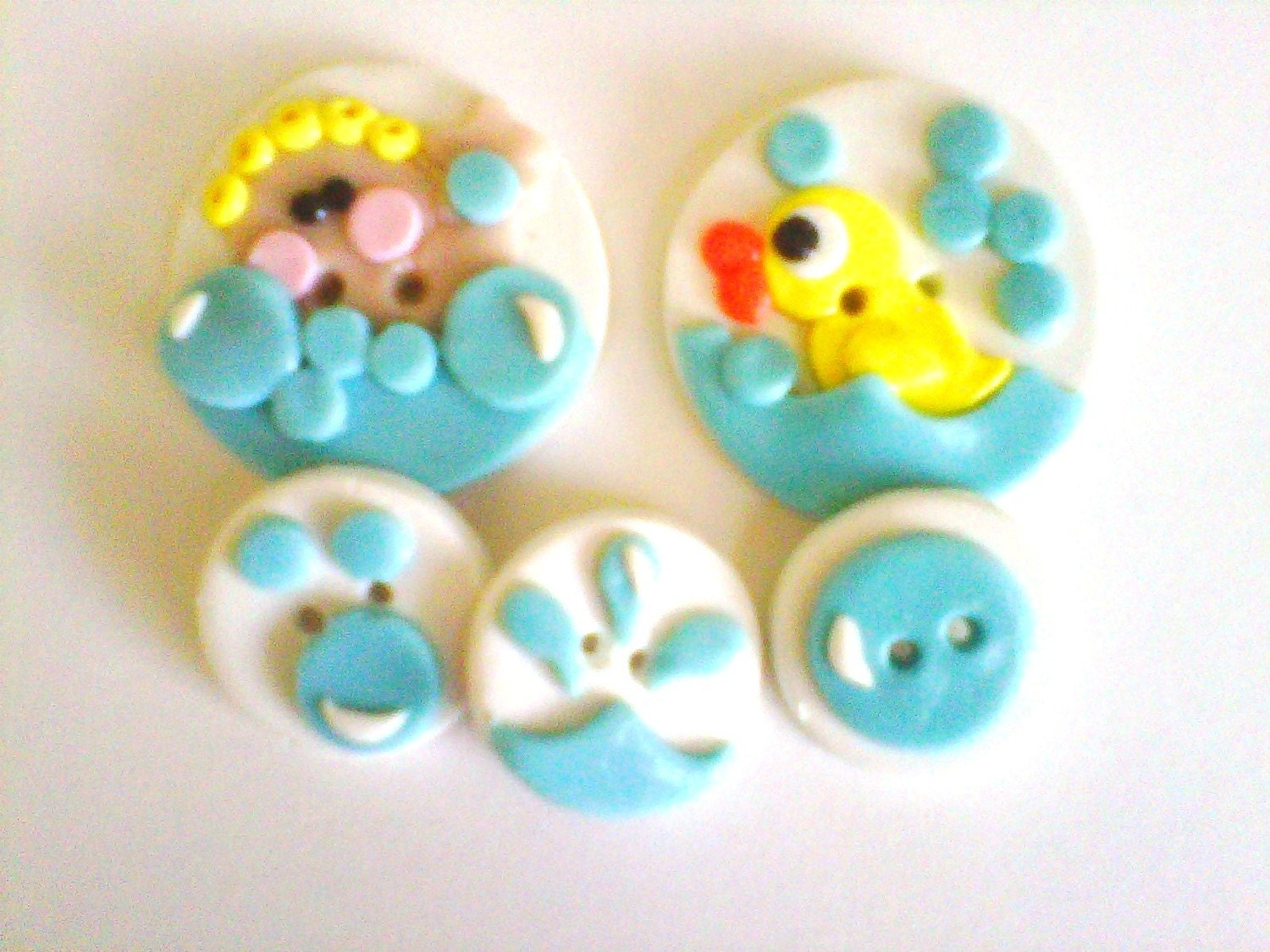 Bath Time Bubbles handmade polymer clay buttons 5