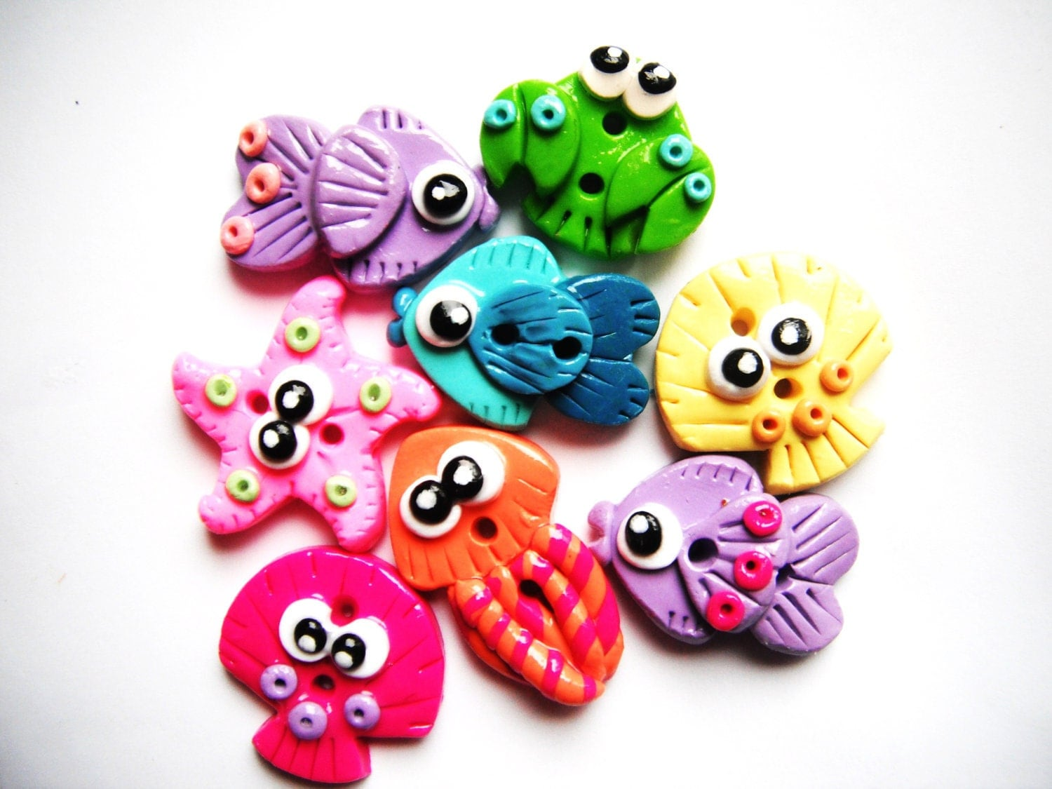 Button Little Sea Life polymer clay buttons 8 by digitsdesigns