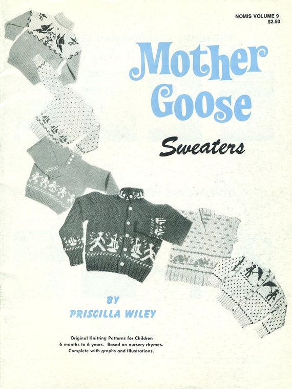 MOTHER GOOSE SWEATERS Knitting Patterns From Nursery Rhymes - Vintage Nomis Book