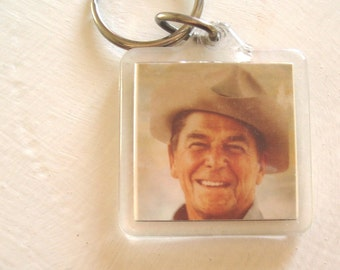 President Ronald Reagan cowboy keychain Presidential memorabilia 1980s