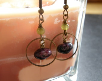 OUT OF STOCK Into The Mist Earrings in Aged Brass w/Purple Turquoise