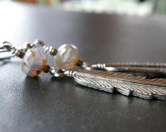 Birds Of A Feather Earrings in Sterling silver w/Czech glass-Big-Long-Heavy-Boho-Hippie-Folk-Country-Zen-Bird-Spiritual-Nature-Earthy