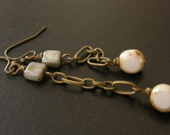 Cloud 9 Earrings in Aged brass w/Czech glass-Chain-long-Hippie-Earthy-country-White-Vanilla-hipster-Romantic-Simple-gifts under 20