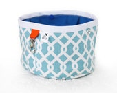Squishy Travel Pet Water Bowl - French Blue Lattice Print