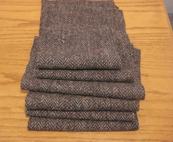 100% WOOL HERRINGBONE FELTED Grey Brown  Pieces Reclaimed from Sports Jacket
