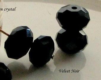 Zen Crystal Rondelles 8 x 5mm Velvet Noir Qty 35 Full Strand