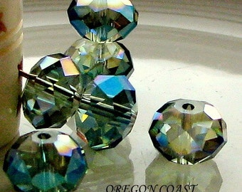Zen Crystal Rondelle Green Gold AB 8 x 5 mm Little Oregon Coast Full Strand (Qty 35)