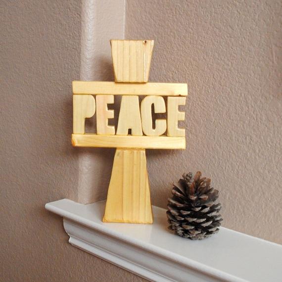 Peace Large Cross - Freestanding, Reclaimed Wood