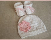 Hand knitted cotton baby hat and booties for girl