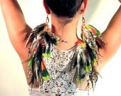 Wild feather earrings, long, colorful, full, dramatic, bold, parrot feather earrings - Gryphon Wings
