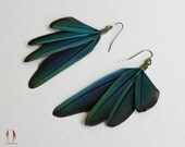 Little blue feather earrings, Small feathers, Parrot feather earrings, Wing earrings, Water color, Turquoise, Cruelty free - Water Wings