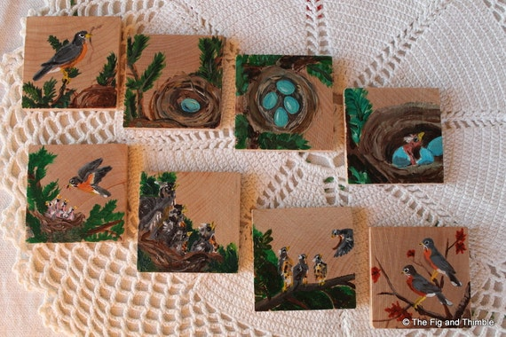 Reserved Listing - Robin's Nest - Handpainted Wood Tiles Sequencing Storytelling Activity, Spring Nature Table