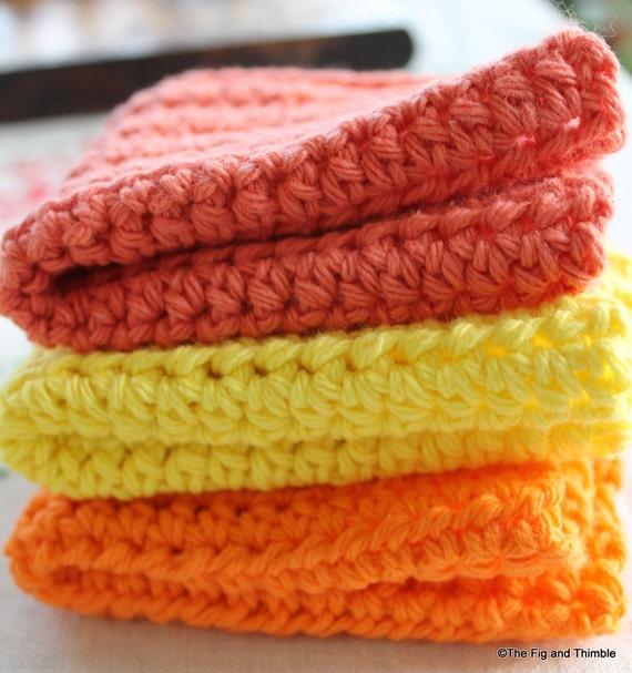 Crochet Dishcloths / Washcloths / Facecloths Cotton Sunshine Colors Set of 3