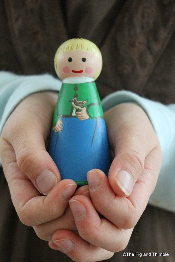 """Peg Doll Girl - Sweet Girl with Bird, large 3.5"""" size"""