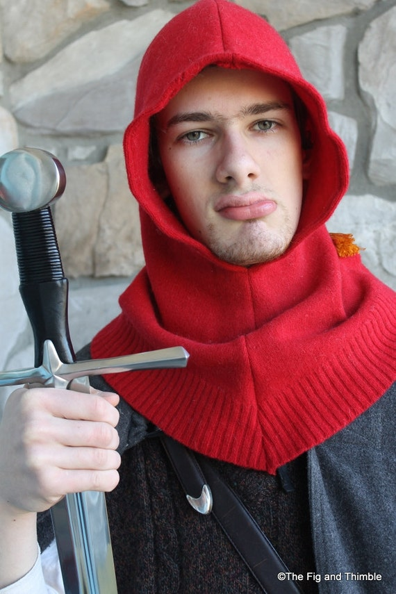 Red Upcycled Wool Dwarf Hood with Tassel
