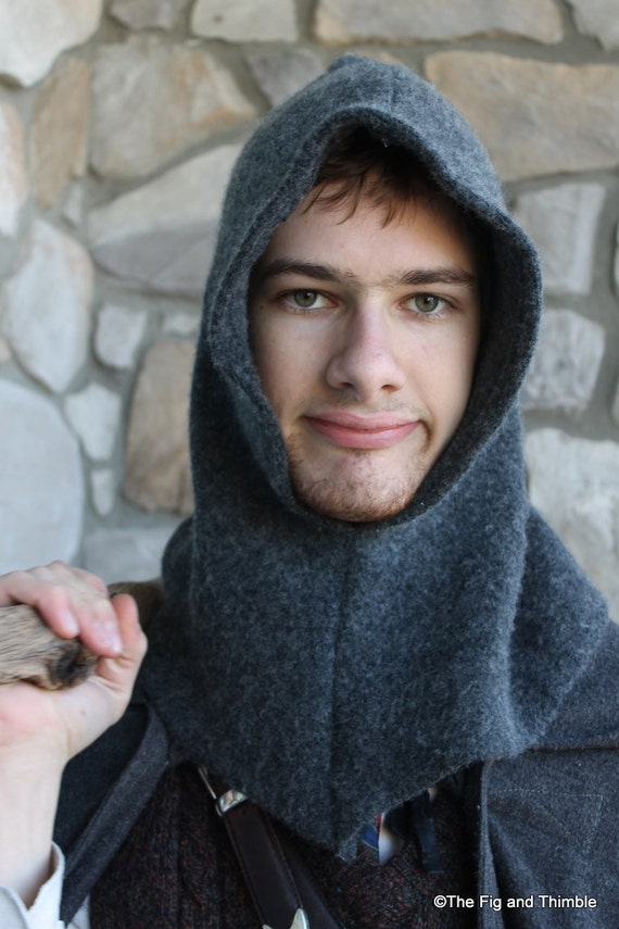 Charcoal Gray Upcycled Wool Dwarf Hood with Tassel