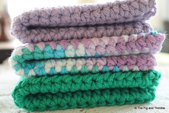 Crochet Dishcloths / Washcloths / Facecloths Cotton Violet and Green Set of 3