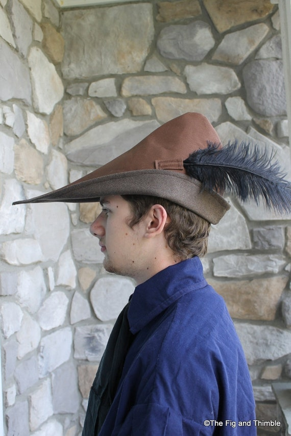 Medieval Peasant Hat with Feather, Cotton Canvas Lined with Wool: The Ashiepattle