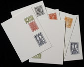 Postage Stamp Stationery Set - Letterpress Notecards