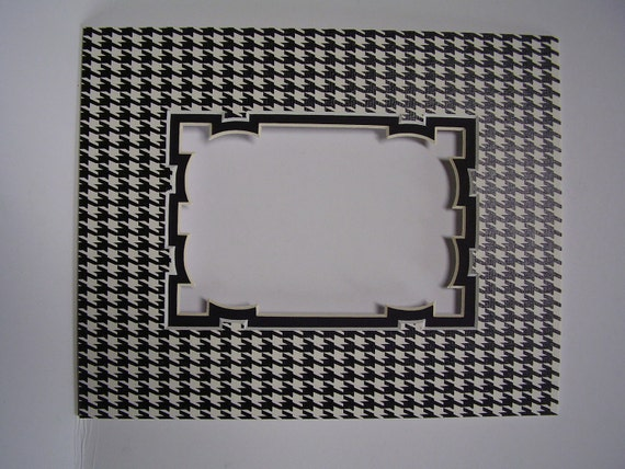 Picture Frame Mat Houndstooth Check Black and White Print 8x10 for 5x7 Photo or Art Custom Cut
