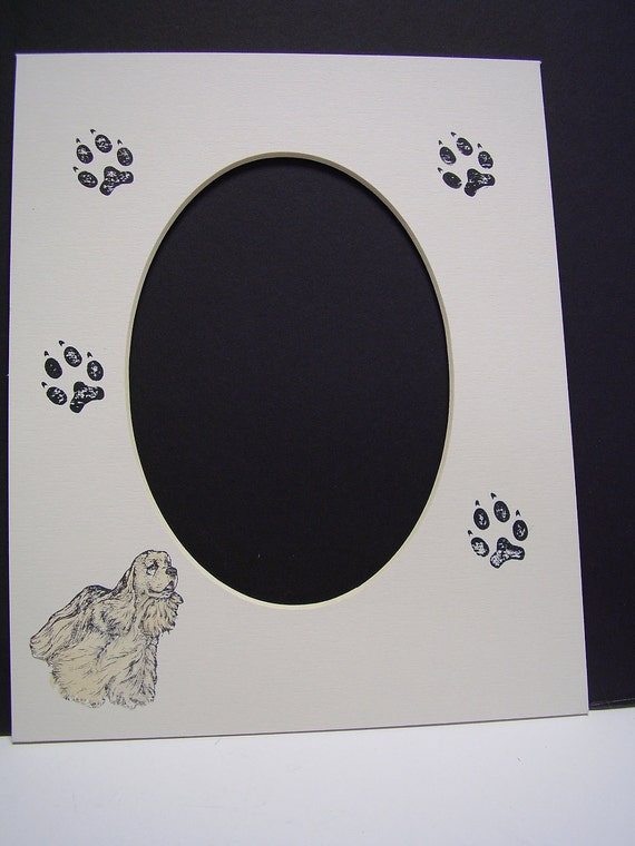 Picture Frame Mat Cocker Spaniel and Paw Print Single Mat 8x10 for 5x7 Photo or Art Custom Cut