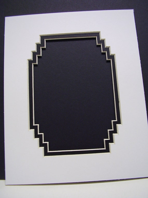 Picture Frame Mat Black French Stairstep Corners  8x10 for 5x7 Photo White Ivory and Black Double mat