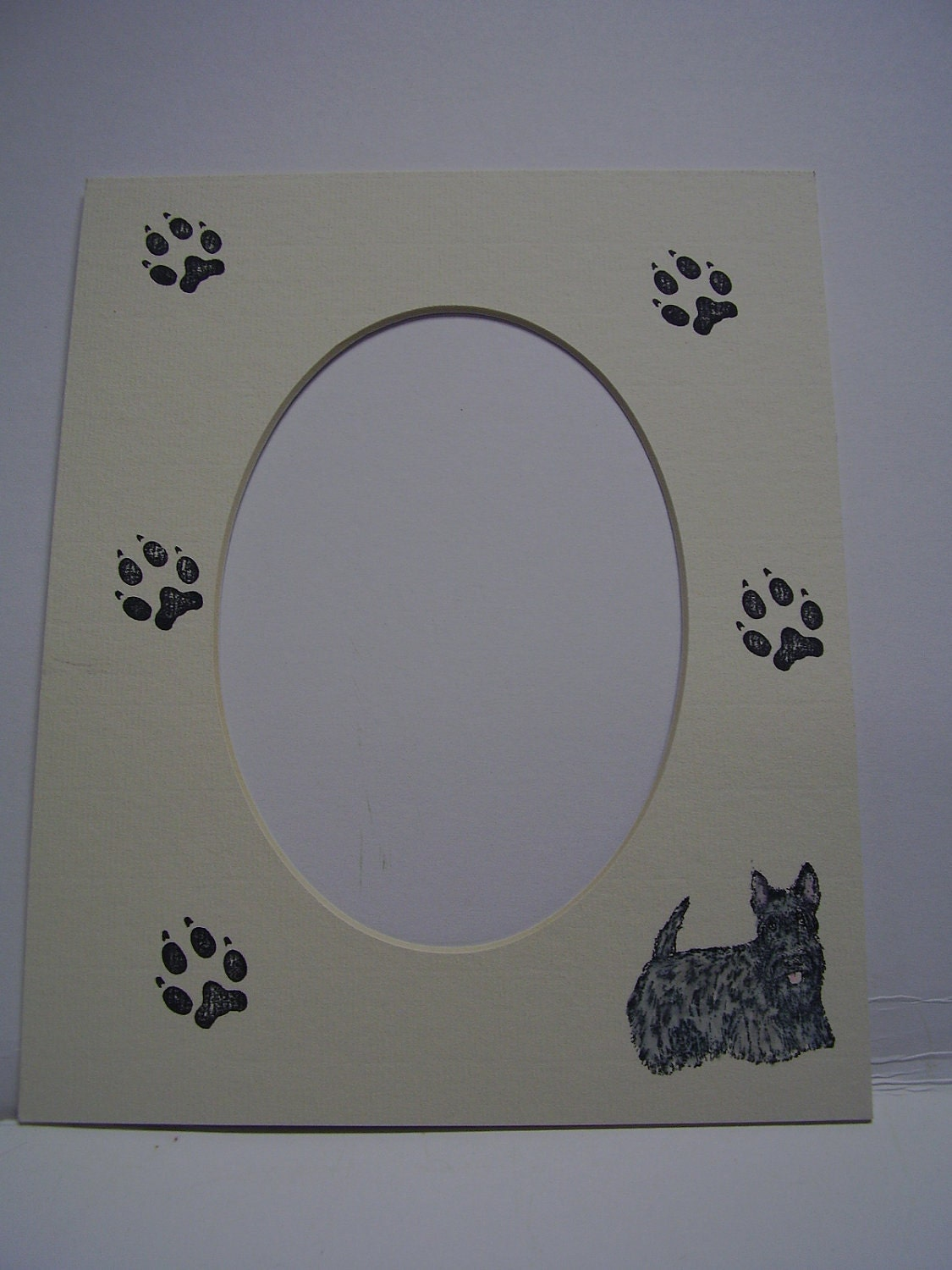 Picture Frame Mat Black Scottie Dog And Paw Print Single