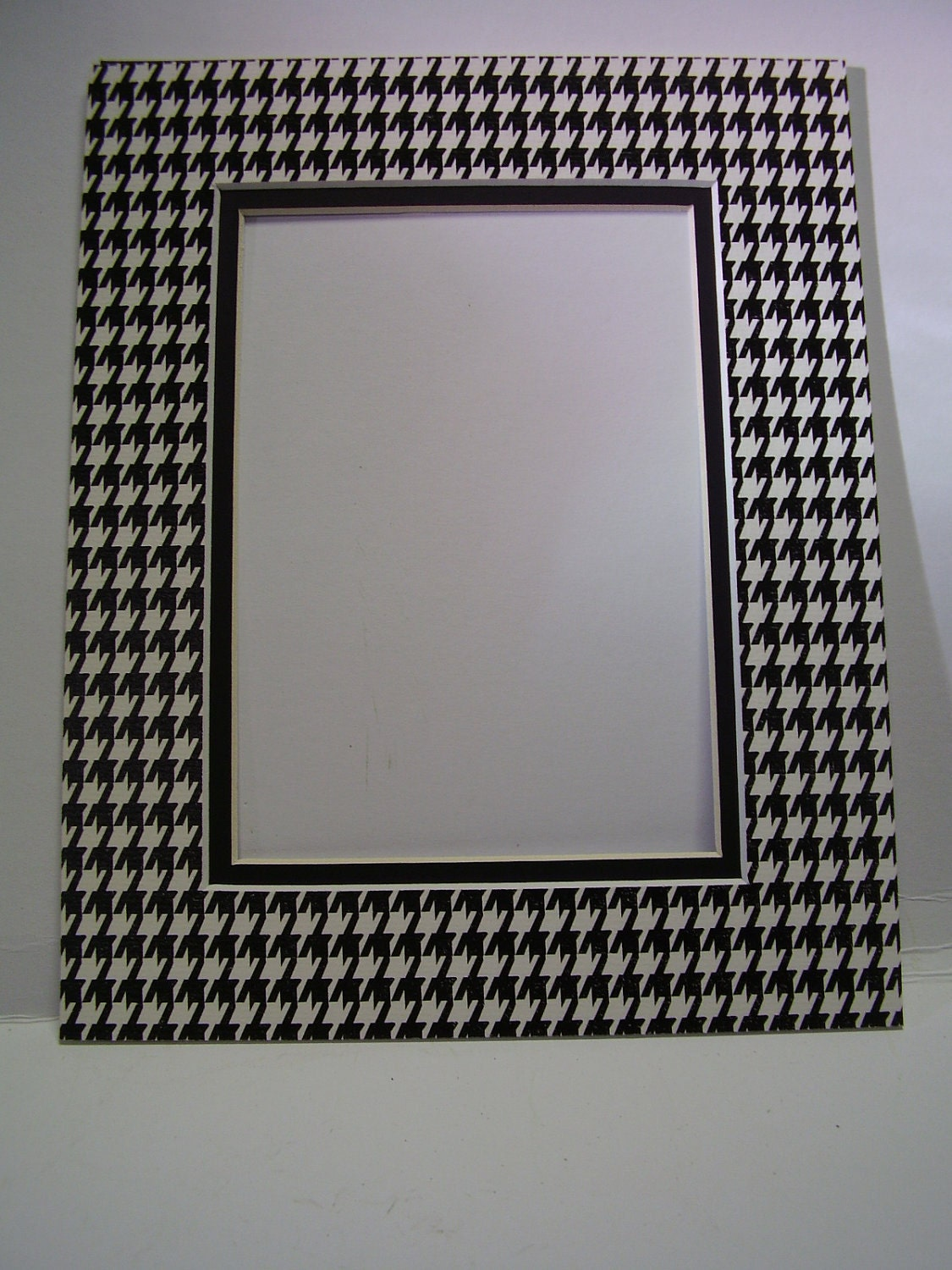 Picture Frame Mat Houndstooth Check Black And White 11x14