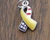 Patriotic yellow ribbon charm