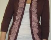 Sale - Ruffled Three Quarter Sleeve Cashmere Button Cardigan Size Medium - READY TO SHIP