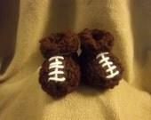 Football Baby Booties Crochet 0-3mo Size